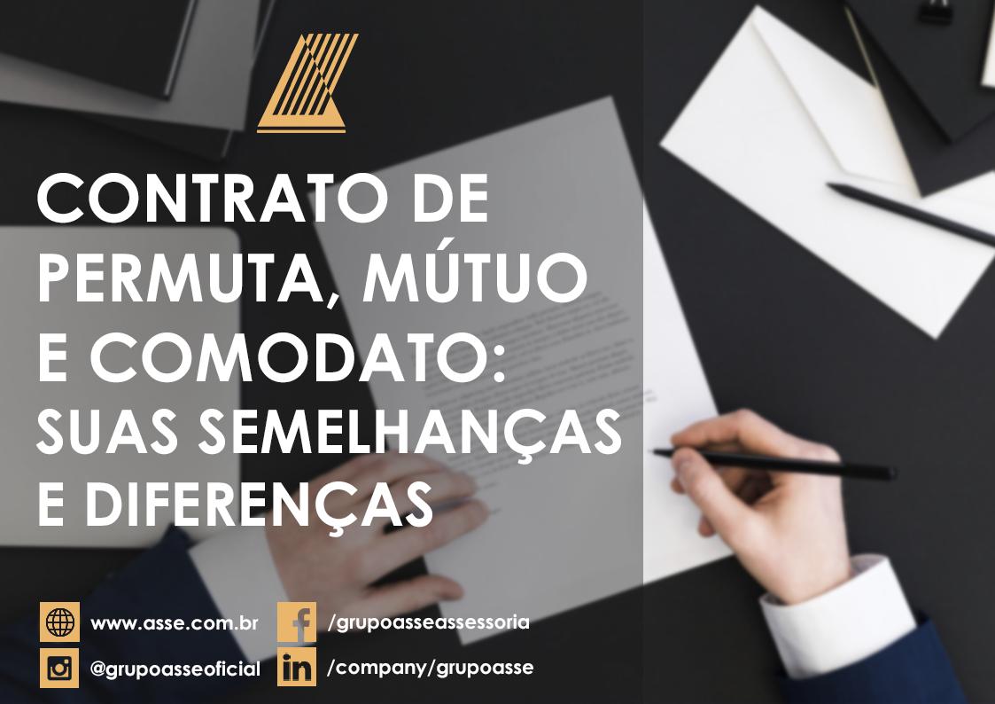 Contrato de permuta, mútuo e comodato, veja as semelhanças e diferenças.
