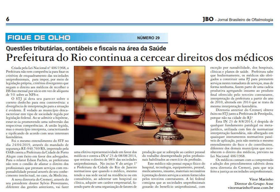 """Matéria publicada na revista JBO ed. JUNHO/2019: """"Prefeitura do rio continua a cercear direitos dos médicos"""""""